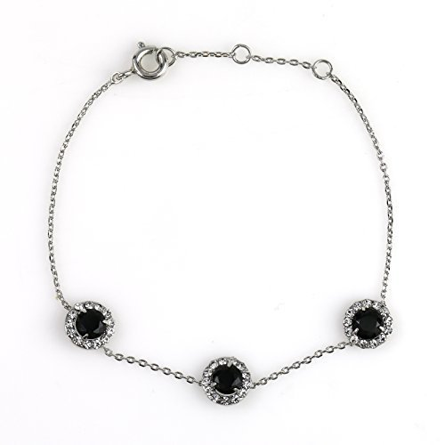 UE-Delicate Designer Silver Tone Faux Onyx & Swarovski Style Crystal Bracelet