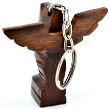 Hand Carved Ironwood Wood Folk Art 3D Eagle Totem Pole Keychain image 4