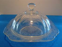 Clear pressed glass covered butter dish. - $25.00