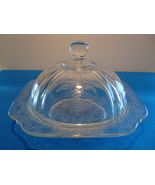 Clear pressed glass covered butter dish. - $15.00
