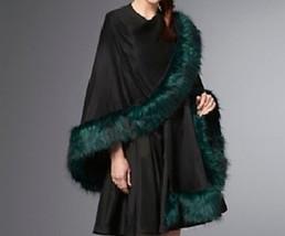 Ladies Women's fall spring faux fur trim ruana cape shawl wrap plus1X 2X... - €90,28 EUR+