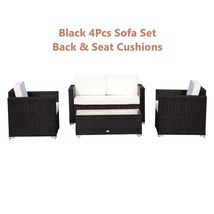 Rattan Sofa Cushioned Set Garden Wicker Glass Top Table Armchairs 4Pcs Black New image 3