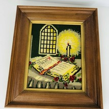Vintage Finished Framed Religious Needlepoint Crewel Embroidery Candle B... - £38.18 GBP