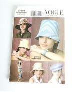 Vogue Pattern V7888 Hats  Summer Sun Vacation Hat Size Size S M L Uncut - $26.99