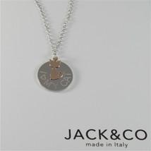 COLLANA IN ARGENTO 925 JACK&CO CON CUORE CANE O GATTO IN ORO ROSA 9KT  60  CM image 2