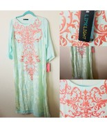 Pakistani limelight Embroidered Kurti tunic in Pale green long sleeves Med NEW - $59.00