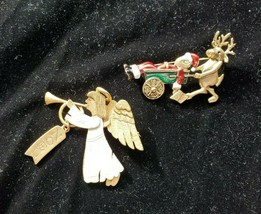 Two Vintage DANECRAFT Christmas Brooch Pin Angel Noel, Santa Claus Reindeer - $29.70