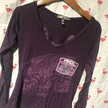 Sturgis Motorcycle Rally 2018 Women L Putple V-Neck Form Fit Shirt A5361 - $12.25
