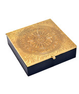 Handicraft Wooden over Brass Sheet Gold Plated Work Dry Fruit Box, Jewel... - $36.99