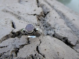 Empowering Jewelry Handcrafted Silver Tone Alloy Pink Chalcedony Ring Si... - $9.50