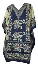 Elephant Short Kaftan, Bohemian Beach Top, Hippie Caftan Free Size Dress - $8.59