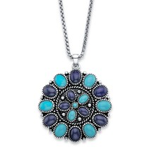"PalmBeach Simulated Turquoise and Blue Lapis Antiqued Silvertone Necklace 18"" - $18.00"