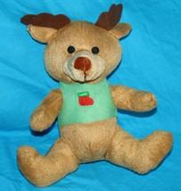 "Kellytoy Christmas REINDEER 8"" Stocking Brown Green Plush 2012 Stuffed Soft Toy - $13.52"
