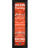 "Personalized Auburn Tigers ""Family Cheer"" 24 x 8 Framed Print - $39.95"
