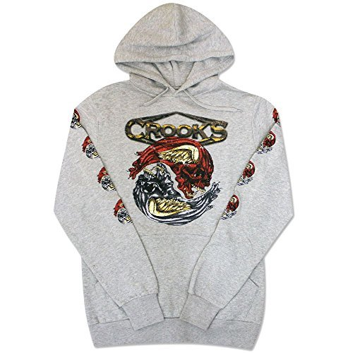 crooks amp castles twin medusa pullover hoodie heather grey