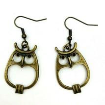 Brass Tone Owl Drop Dangle Pierced Hook Earrings Antiqued Style Metal Owls - $11.82