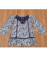 New En Creme Dress Size Small Blue Cream Cold Shoulder Paisley Crochet - $24.75