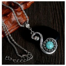 Turquoise Butterfly Pendant Necklace  With Chain, Antique Silver Vintage... - $3.99
