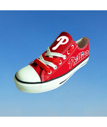 philadelphia phillies shoes red phillies sneakers baseball fashion canva... - $59.99