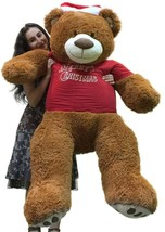 Merry Christmas 5 Foot Teddy Bear Wears Removable Red Holiday Tshirt, So... - $127.11