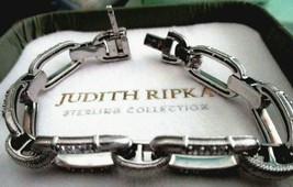 JUDITH RIPKA 925 SILVER GRAND STATEMENT DIAMONIQUE TEXTURED LINK BRACELE... - $139.95