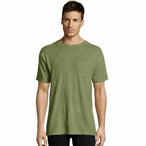 Hanes Men's 1901 Heritage Dyed Short Sleeve Crewneck Pocket T-Shirt - 10 COLORS