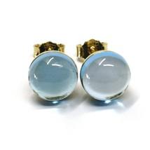 18K YELLOW GOLD BUTTON LOBE EARRINGS, CABOCHON BLUE TOPAZ DIAMETER 9mm image 1