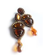 Brown Earrings, Orange Earrings, Earrings, Chic Earrings, Beadwork Earri... - $38.00
