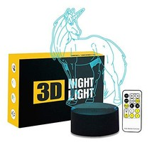 Circle Circle Unicorn 3D Optical Illusion Lamp 7 Colors Change Touch Button and
