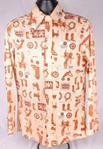 True Vintage Levi's Shirt-M-Tan-Western Cowboy Print-Long Sleeve-Big E Buttons - $186.99