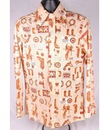 True Vintage Levi's Shirt-M-Tan-Western Cowboy Print-Long Sleeve-Big E B... - $186.99