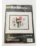 Bucilla Tulip Flowers Kit Crossstich Kit 9 x 12 Vintage 1990 Complete Se... - $34.97