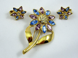 Flower Pin & Clip Earring Set Brooch Vintage 70s Pink Blue Rhinestones Goldtone - $19.99