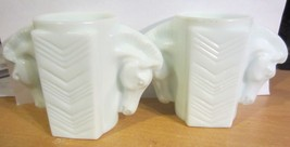 Vintage Art Deco Milk Glass double Horse head shaving mug - Macbeth Evans - $95.00