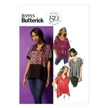 Butterick Patterns 5955 Misses Tops with Hem and Sleeve Variations Sizes LRG-XLG - $14.70