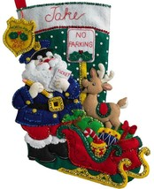 Bucilla Officer Santa Policeman Police Christmas Ticket Felt Stocking Ki... - $37.95