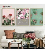 Beautiful Red Pink Roses Flowers Canvas Painting Living Room Wall Art Po... - $3.69+