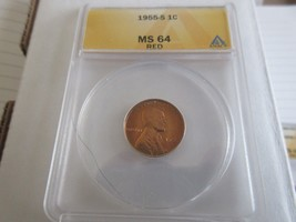 1955-S , Lincoln Penny , MS 64 , RED  , Anacs - $16.00