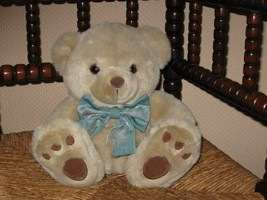 Chosun Sample Beige Teddy Bear Plush 9 Inch Sitting Blue Bow - $34.41