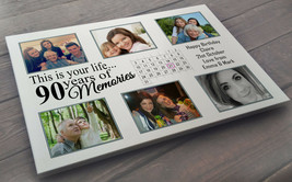Personalised large white wooden plaque sign, 40 x 30 cm, 90th birthday p... - $25.63