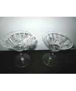 Set of 2  Etched Glass Crystal Goblets With Leaf & Flower Pattern - $12.86