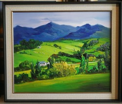 Landscape Painting Gum trees , farm house, morning landscape, green gras... - $599.00