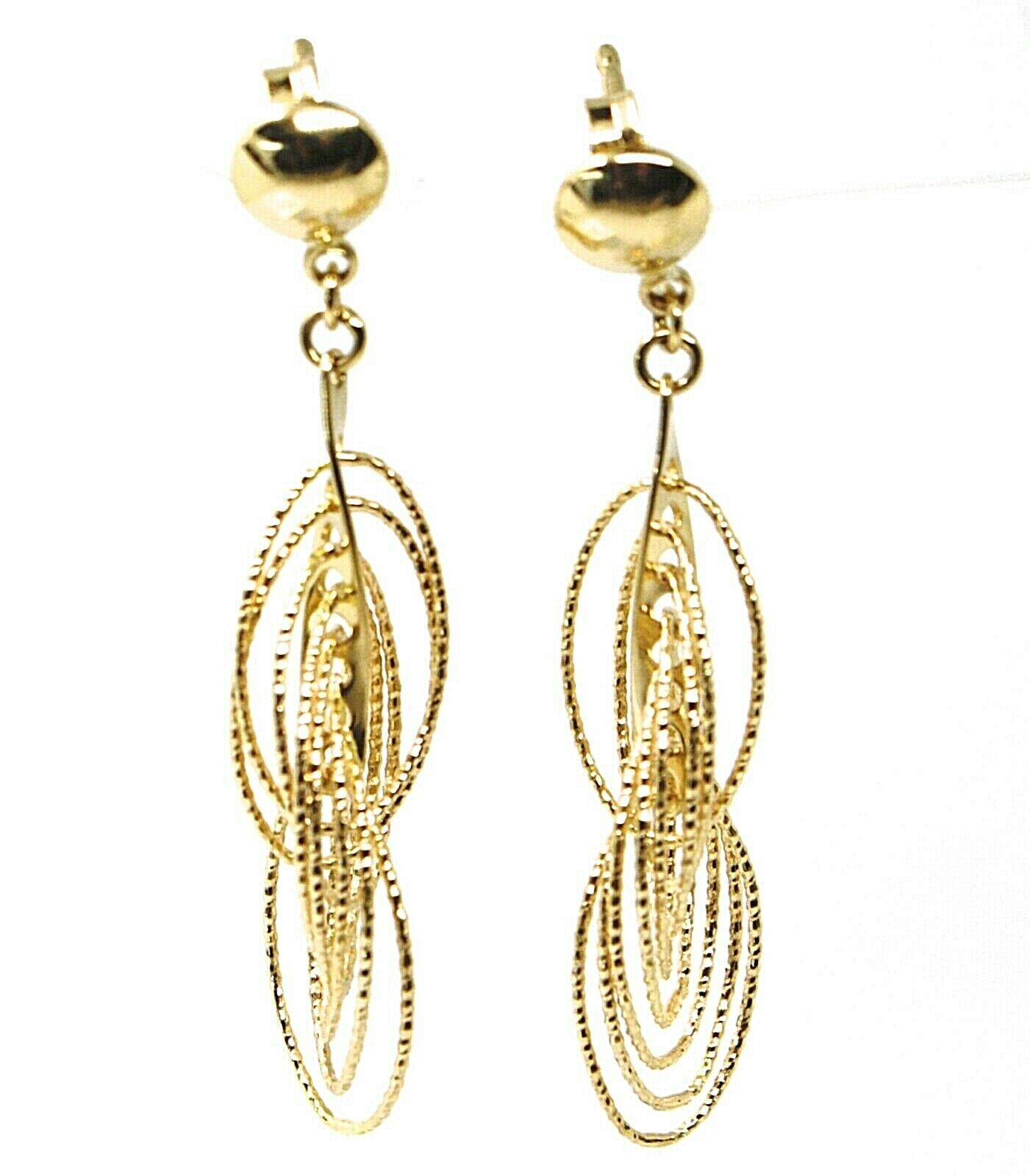 18K YELLOW GOLD PENDANT EARRINGS, MULTIPLE WORKED OVALS, SPIRAL 4cm, 1,6 INCHES