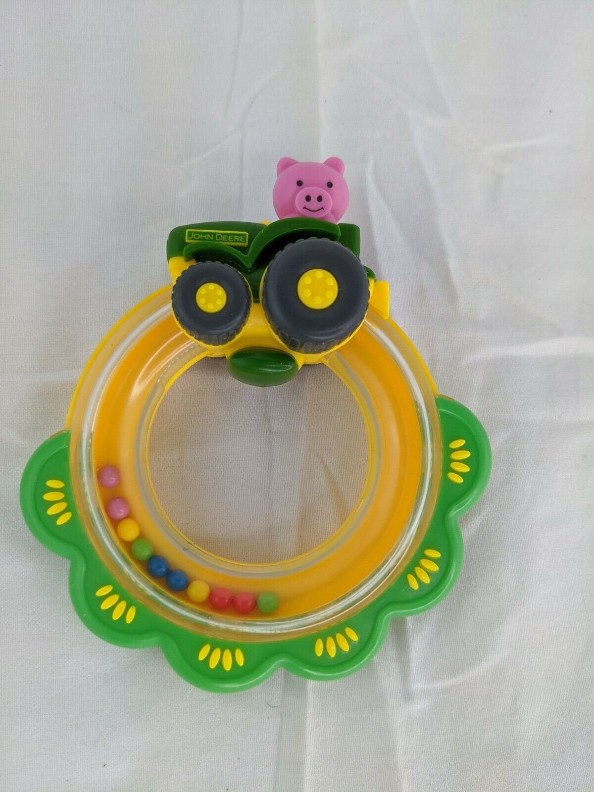 "Primary image for John Deere Pig Tractor Rattle Ring Toy 5"" Tomy"