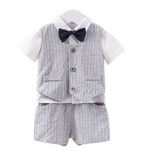 Fairy Baby Baby Boy Formal Outfit Short Sleeve Tuxedo Plaid Gentleman Su... - $19.78