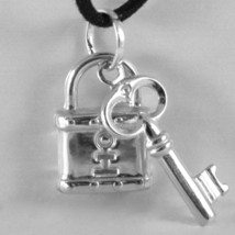 18K WHITE GOLD ROUNDED PADLOCK AND KEY PENDANT CHARM 27 MM SMOOTH MADE IN ITALY image 2