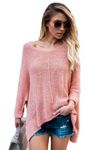 Pink Oversized Knit High-low Slit Side Sweater  - $27.31