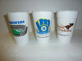 4 Vintage Stadium Souvenir Cups 1990 Milwaukee Brewers and Wausau Timbers - $9.74