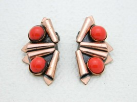 VTG RARE MATISSE RENOIR Red Glass Cabochon Fan Clip Earrings - $74.25