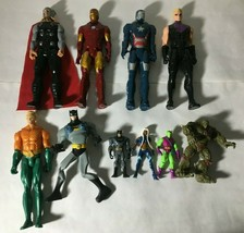 "Marvel  & DC Action Figure Lot Of (10) 4"" to 12"" Batman Iron Man Thor Aquaman - $38.70"
